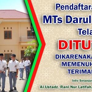 Pendaftaran Santri Baru MTs Darul Amanah Tahun Pelajaran 2016/2017 Telah Di Tutup