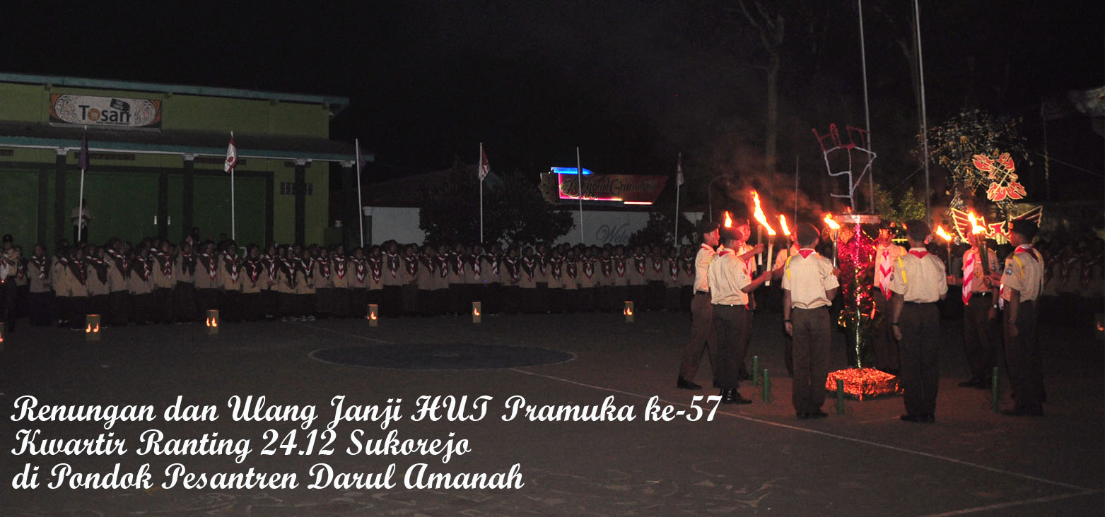 Renungan dan Ulang Janji Pramuka ke 57 Kwarran 24.12 Sukorejo di Pondok Pesantren Darul Amanah