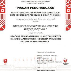Pondok Pesantren Darul Amanah Terima Penghargaan dari Kementerian Sekretariat Negara RI Sekretariat Presiden